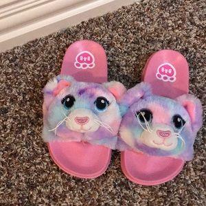 Soft tie dye animal slippers